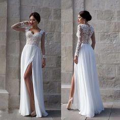 Свадебные платья романтический кружева бич высокого щели с длинным рукавом шифон свадебное платье выдолбите Vestido де Casamento 2015 WB014 купить на AliExpress