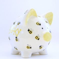 Personalized Piggy Bank - Bumble Bees - with hole or NO hole in bottom