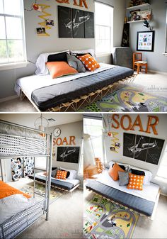 Love the modern feel with orange accents.  LOVE the 3 canvases and orange accents...maybe recreate this look with a poster and some wall letters in the theme of our choice?