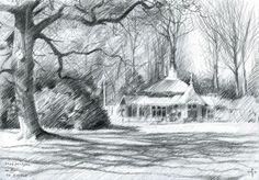 Tea Pavilion 'De Horsten' - 16-04-14 (2014), graphite on paper (A5) #arts #kunst #Corné #Corne #Akkers #藝術 #アート #искусство #فن  #seni #art #arts