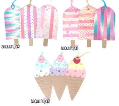 3 handmade cute ice cream lollypop pattern present decorating card gift tag uk