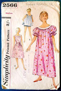 Vintage 1950's muu muu nightgown panties sewing pattern