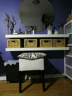 Diy dressing table :: exchange the baskets for something more slick