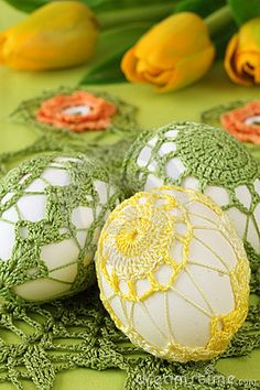 Easter Eggs With Crochet Decoration Royalty Free Stock Photos - Image: 17681818