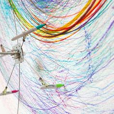 Joseph L Griffiths - The Joseph L Griffiths drawing machine is a human-powered appliance for creating epic works of art. Automatic Drawing, Textiles Sketchbook, Drawing Machine, Create Drawing, Spirograph, Interactive Art, Smart Art, School Art Projects, 3d Drawings