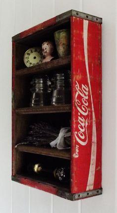 Vintage Wood Coca Cola Display Crate by thepetitemarket on Etsy Vintage Coca Cola, Repurposed Furniture, Rustic Furniture, Diy Furniture, Coke Crate Ideas, Coca Cola Decor, Coca Cola Kitchen, Always Coca Cola, Retro