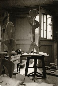 Photograph of Isamu Noguchi's studio at 33 MacDougal Alley, Greenwich Village New York, ca. 1945.  Structure, in the collection of the Carnegie Museum of Art in Pittsburgh since 1960, is shown as a work in progress.  Photographer unknown  The Noguchi Museum Archive