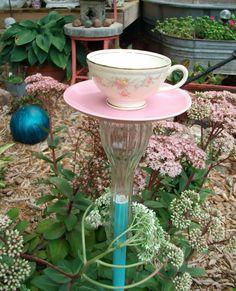 Garden Art Bird Feeder Recycled China Teacup by CarlaRaeVintage, $9.95