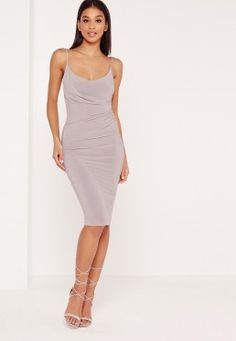 slinky strappy wrap midi dress grey