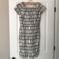 Black and white graphic canvas dress Lightly worn black and white graphic dress J. Crew Dresses