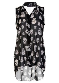 NOT the skulls, but the cut of shirt! Skulls Hi Lo Chiffon Blouse - Womens Clothing Sale, Womens Fashion, Cheap Clothes Online | Miss Rebel