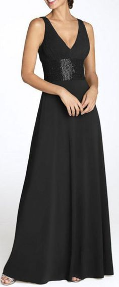 A-line Sleeveless Deep V-neck Chiffon Natural Bridesmaid Dresses