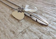 Men's Guitar Pick Musician Necklace - Stainless Steel & Crystal Quartz on Etsy, $45.00 CAD