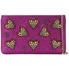Christian Louboutin Christian Louboutin Heart Embellished Clutch ($1,390) ❤ liked on Polyvore featuring bags, handbags, clutches, heart purse, christian louboutin, embellished handbags, shoulder strap handbags and beaded clutches