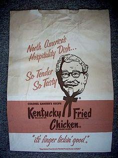 vintage kentucky fried chicken bag.   FInger lick in good find.  urge studio on  etsy