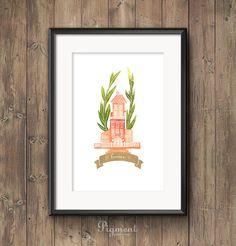 Home Love - watercolor illustration print, printable art, instant download