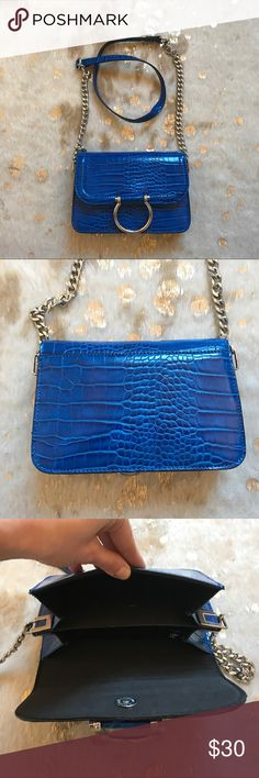 Topshop purse Used once, super cool bright blue Topshop Bags Crossbody Bags
