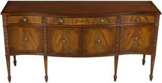 """Antique Regency Style Mahogany Sideboard. 72"""" w x 22.25"""" d x 36"""" h. $1735 on sale. Circa 1960. It is made with flame mahogany, satinwood inlays, and brass hardware."""