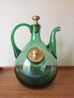 Vintage Glass Wine Decanter Wine Carafe Green Glass Hand