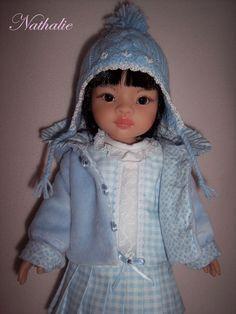 Veste à capuche + bonnet compatible poupée Paola Reina, Little Darling...