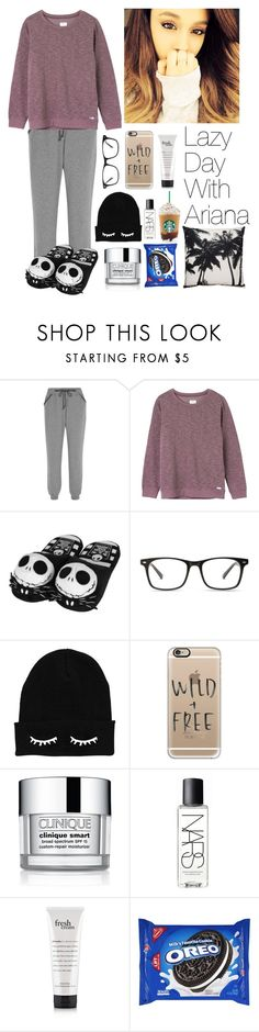 """""""Lazy Day With Ariana Grande"""" by siamesecat-1 ❤ liked on Polyvore featuring Calvin Klein Underwear, RVCA, Disney, Casetify, Clinique and NARS Cosmetics"""