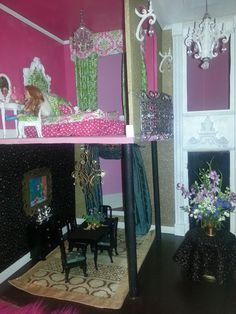 Custom designed Barbie House with balconies that overlook the entry!  House has five chandeliers!