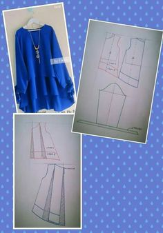 Sewing Blouse Pattern Tunics Tutorials New Ideas Abaya Pattern, Tunic Pattern, Free Pattern, Blouse Patterns, Clothing Patterns, Sewing Blouses, Techniques Couture, Sewing Lessons, Easy Sewing Patterns