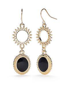 Ruby Rd Gold-Tone Gypsy Caravan Midnight Sun Double Drop Earrings