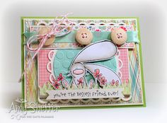 Amy Shefer has a great Easter Card. Love the colors and the stamp from Cat's Pajamas.