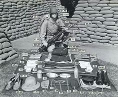 The cost of a US marine's clothing and gear during Ap World History, World War Ii, American History, Military Photos, Military History, Marine Outfit, Us Marines, Total War, Marine Corps