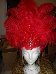 Big show girl rhinestone feather headdress headgear hat Carnival Dress, Carnival Outfits, Carnival Costumes, Carnival Headdress, Seussical Costumes, Girl Costumes, Dance Costumes, Feather Headdress, Red Feather