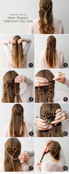 30 Gorgeous Braided Hairstyles for Long Hair - Flechtfrisuren Valentine's Day Hairstyles, Cute Hairstyles For Kids, Little Girl Hairstyles, Romantic Hairstyles, Fashion Hairstyles, Hairdos, Updos, Heart Hair, Braided Hairstyles Tutorials
