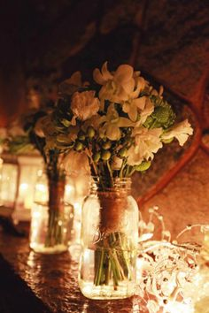 """Strings of light strategically based at base of centerpieces provided """"uplighting"""" for the jars. Rustic Garden Wedding, Camp Wedding, Our Wedding, Dream Wedding, Bouquet Holder, My Flower, Wedding Inspiration, Wedding Ideas, Wedding Anniversary"""