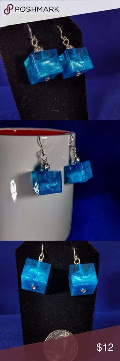 Blue cube earrings Hand made epoxy resin earrings. Translucent blue swirl pattern in a brilliant blue with a silver tone bead. handmade Jewelry Earrings