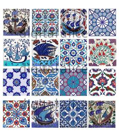 ANTIQUE TURKİSH IZNIK TILES - Instant Download Paper Crafts collage sheet - blue and white Antique Turkish tiles -decoupage,craft squares