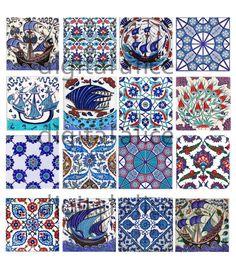 AZULEJOS de IZNIK antiguos - artesanías de papel descarga instantánea collage hoja - azul y blanco antiguo Turco azulejos - decoupage, cuadros de arte