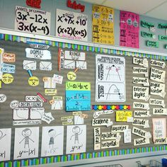 High school math word wall ideas for Algebra, Algebra 2 and Geometry. Word walls help students feel more successful as they are able to find help with more independence. Math word walls also make great classroom decor and bulletin boards. High School Algebra, Middle School Classroom, Algebra 2, Highschool Classroom Decor, Math Classroom Decorations, Classroom Ideas, Math Bulletin Boards, Math Word Walls, Math Wall