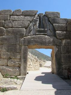 The Lion Gate at Mycenae in Greece. A UNESCO World Heritage site.