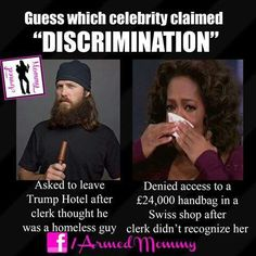 She has made millions from those white women that just loved her and her show now she is all about playing the poor black and the racist card.  She supported Obama thinking he was going to give her a position in the government like Ambassador but Michelle put a stop to that.