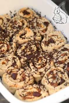 Squirrel of Nom's Tasty Treats: Nougat Walnut Rolls with Chocolate   Nougat-Walnuss-Rollen mit Schokolade