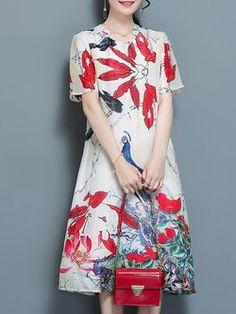 Vintage Floral Printed A-line Stand Collar Linen Dress