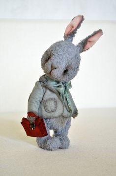"Teddy Bear stile Artist viscose Rabbit ""Piter "" 10 inch handmade collectible jointed Teddy Bear toy"
