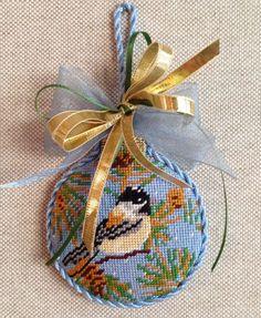 Bird Christmas Ball ~ needlepoint canvas by Whimsy & Grace (chickadee)