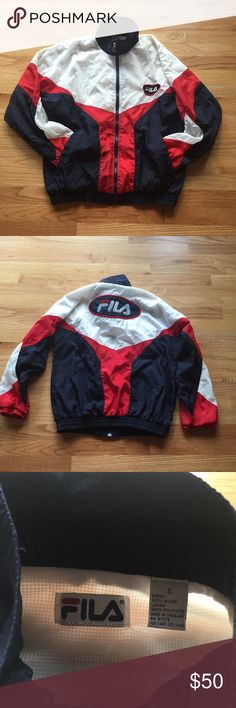 FILA red white and blue windbreaker Gently used windbreaker with FILA logo on the front and back. The white has yellowed just slightly and is unnoticeable when worn. I'm not 100% sure if this is vintage or not but it appears to be. There are some snags on the lining on the inside as well. Fila Jackets & Coats
