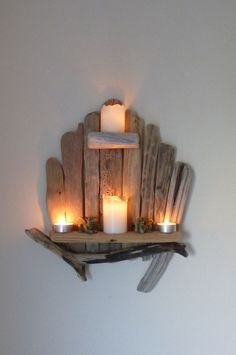 Lovely Shabby Chic, Rustic, Unique Driftwood Shelf, Shelves, Candle Holder in Home, Furniture & DIY, Home Decor, Other Home Decor | eBay!