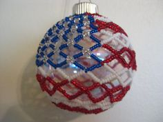 Items similar to American Flag Beaded Glass Ball Ornament on Etsy Beaded Ornament Covers, Beaded Ornaments, Vintage Ornaments, Handmade Ornaments, Ball Ornaments, Crochet Christmas Ornaments, Handmade Christmas Decorations, Holiday Ornaments, How To Make Ornaments