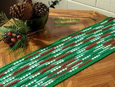 Red and Green Table Runner in a Hand-Crocheted Fabric - Abstract Textile Art Table Decor - For the Holidays - or just because you like Red and Green, which are also Nature Colors! Designed and Handmade by RSS Designs In Fiber! Measurements: 51 Inches Long by 7 3/4 Inches Wide