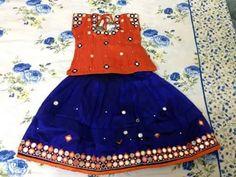 Blue and Orange Lehenga - Indian Dresses