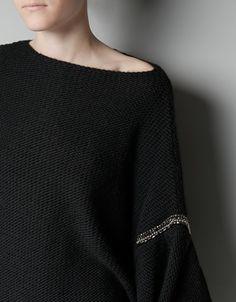 PONCHO SWEATER WITH RHINESTONES - Knitwear - Woman - ZARA Canada
