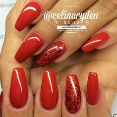 ♡ ✿ Gorgeous polishes, Red and Red Glitter Coffin Nails, Celina_Ryden nails